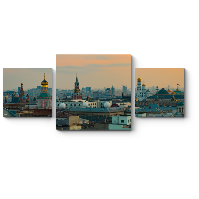 Модульная картина Закат над Москвой