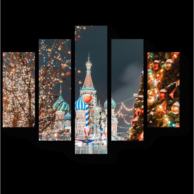 Модульная картина Новый год в столице