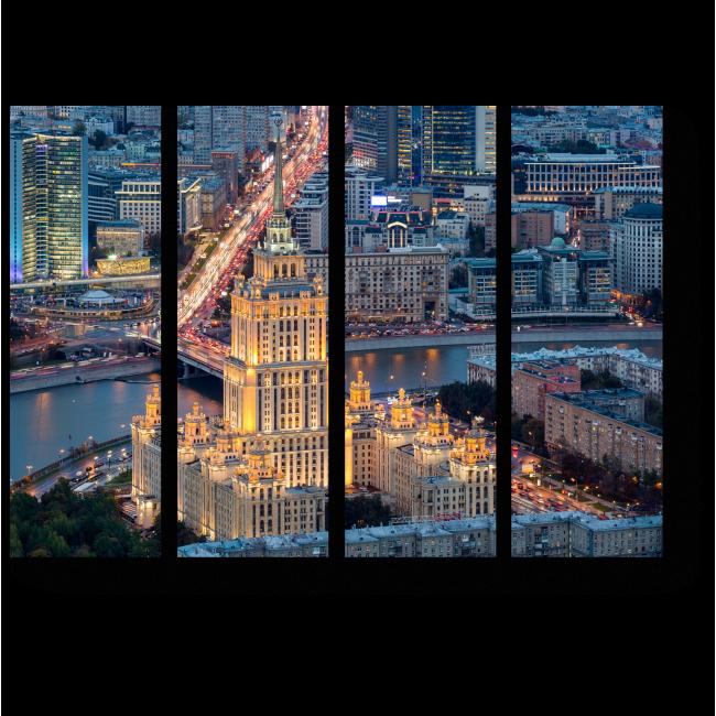 Модульная картина Огни ночной столицы