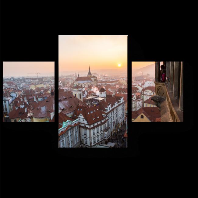 Модульная картина Зимний закат в Праге