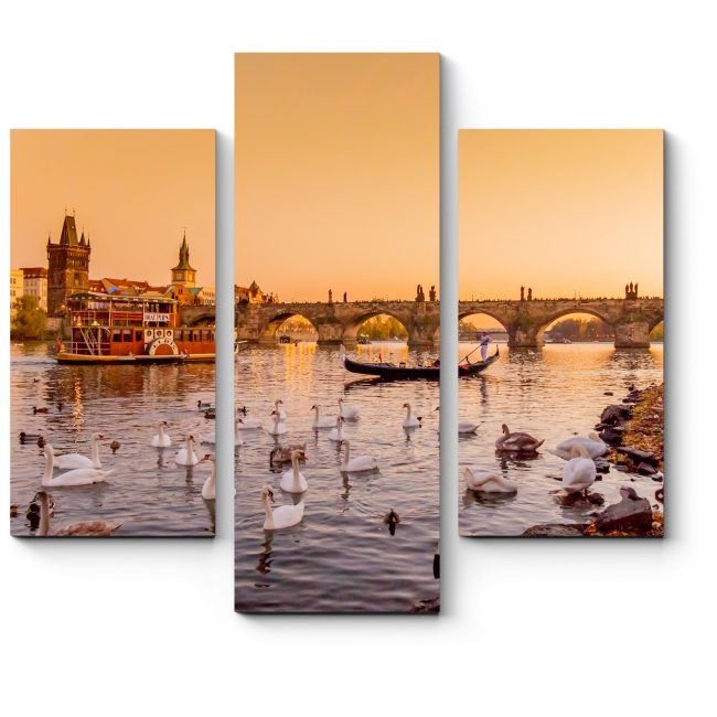 Модульная картина Лебеди на Влтаве