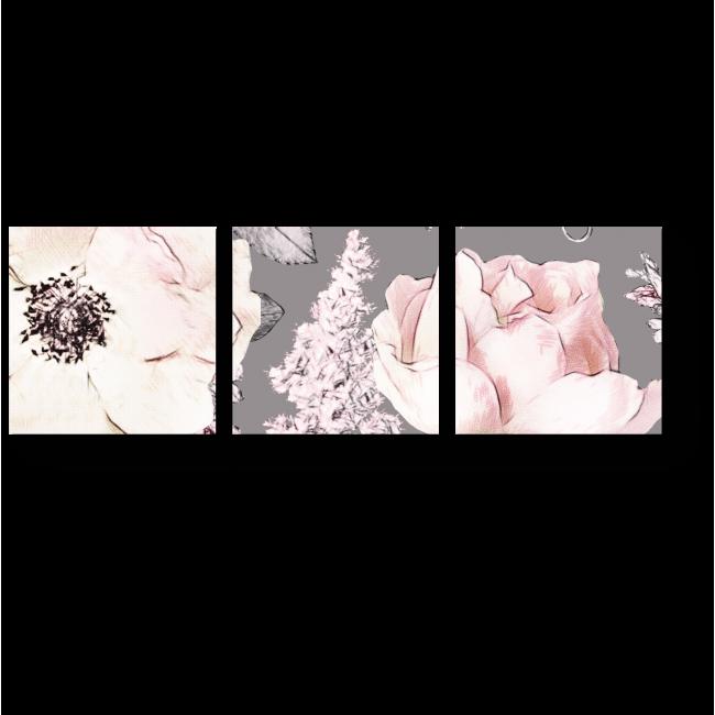 Модульная картина Пастельные розы