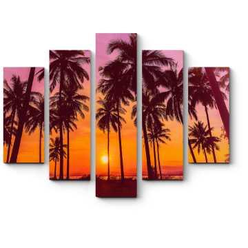Модульная картина Закат на пляже