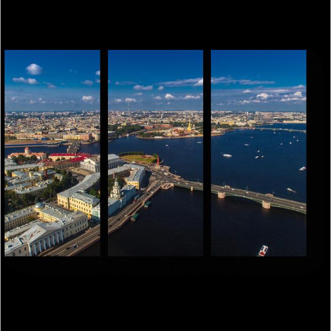 Модульная картина Санкт-Петербург с высоты птичьего полета