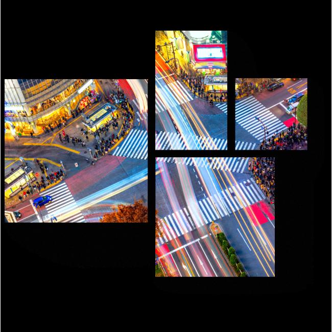 Модульная картина Огни вечернего Токио