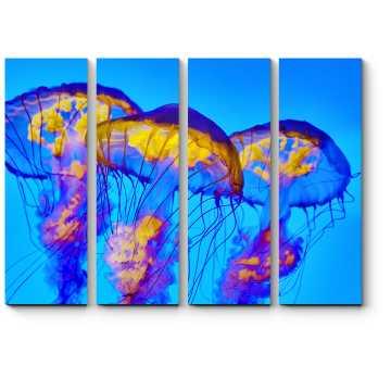 Модульная картина Золотистые медузы