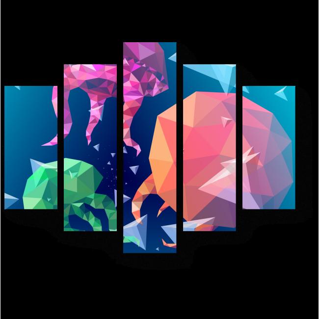 Модульная картина Графические медузы