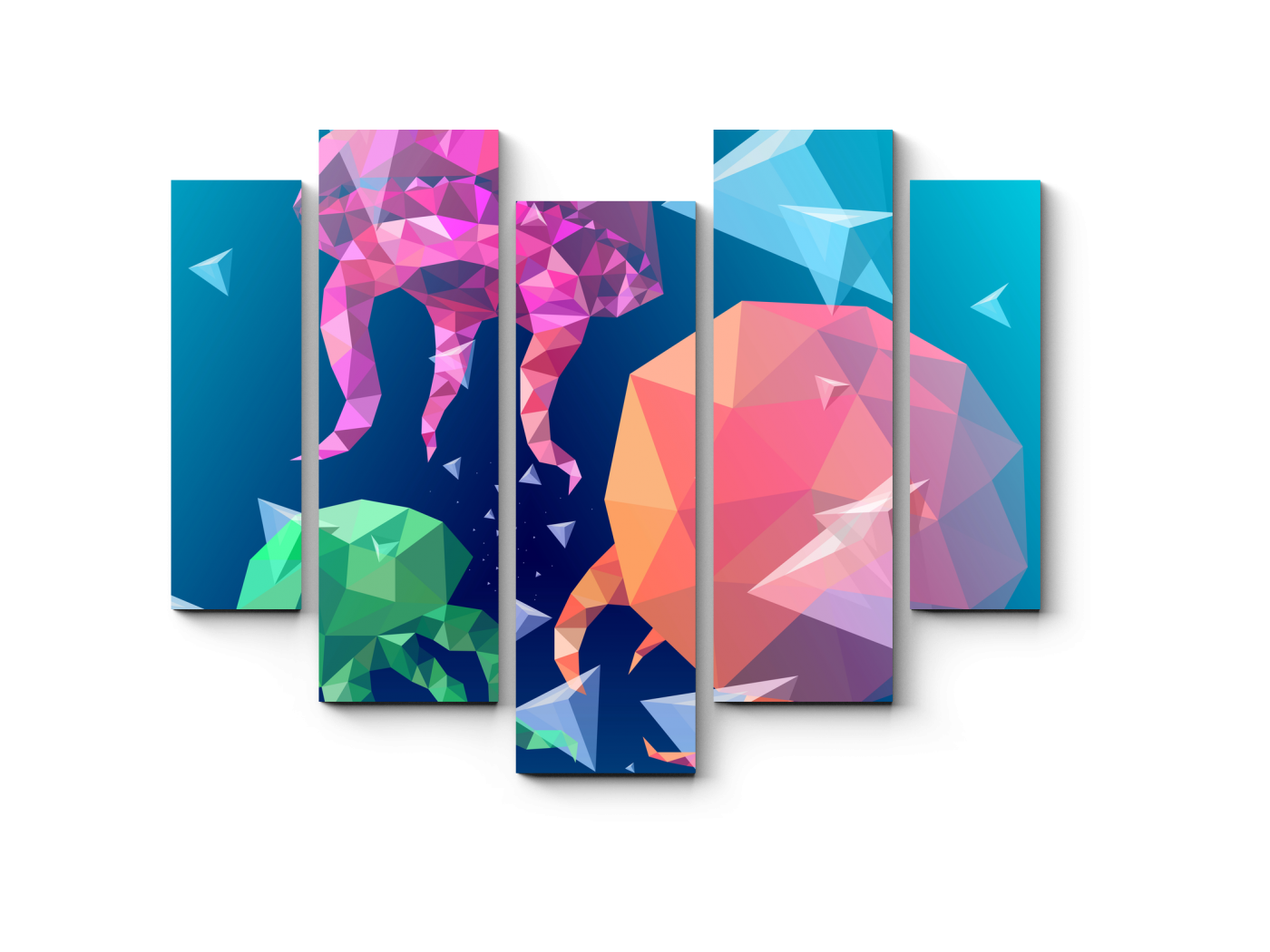 Модульная картина Графические медузы (101x82) фото