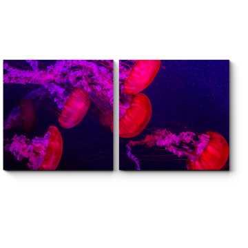 Модульная картина Стая медуз
