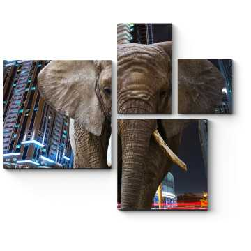 Модульная картина Слон на фоне города