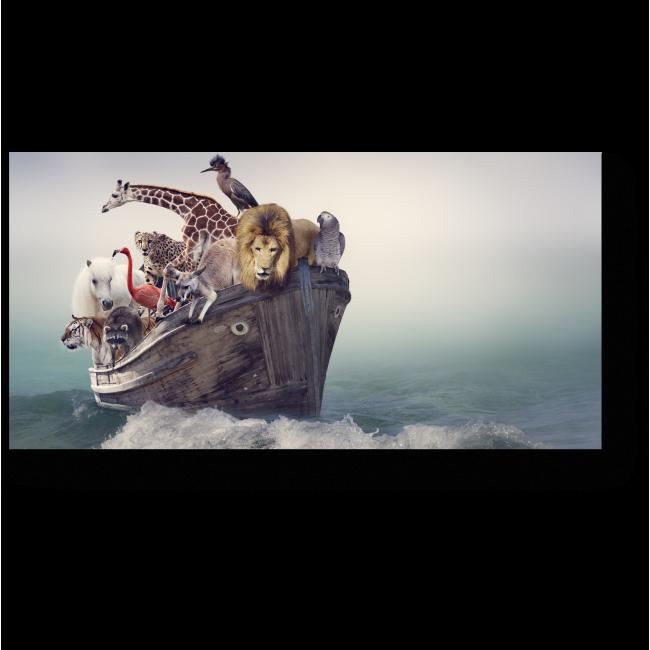 Модульная картина Дружная компания в лодке