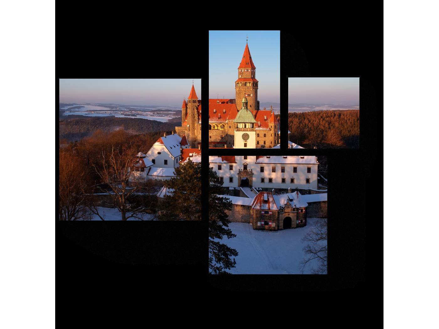 Модульная картина Романтический сказочный замок зимой (72x60) фото