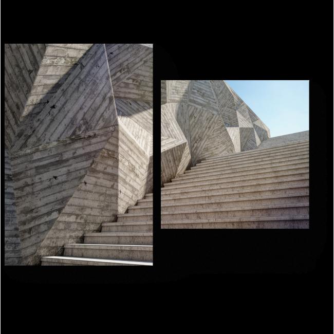 Модульная картина Элемент бетонной стены с лестницей вверх