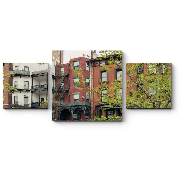Модульная картина Жилая улица в Бруклин-Хайтс