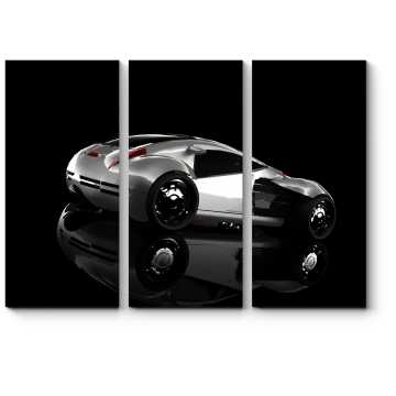 Концепт серебристого спортивного автомобиля