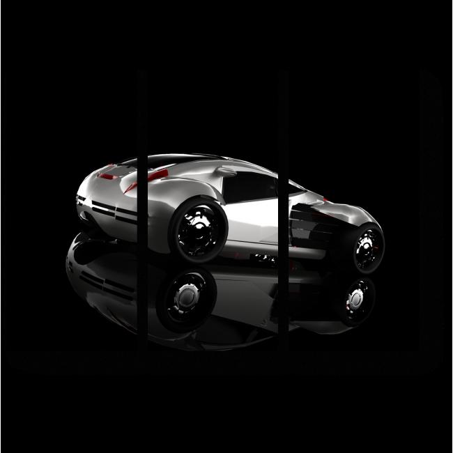 Модульная картина Концепт серебристого спортивного автомобиля