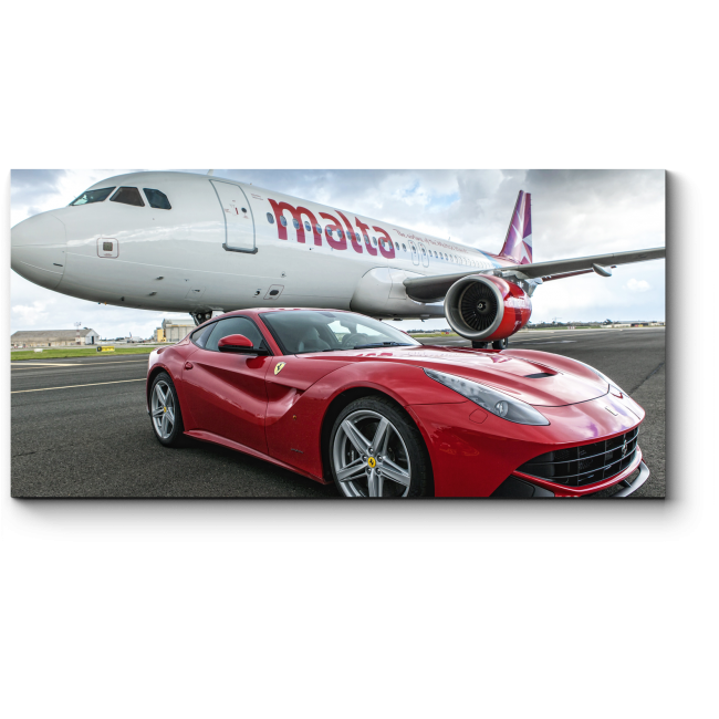 Модульная картина Суперкар Ferrari F12 рядом с AirMalta Airbus A320