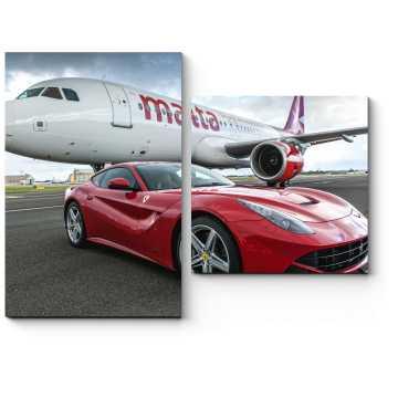 Суперкар Ferrari F12 рядом с AirMalta Airbus A320