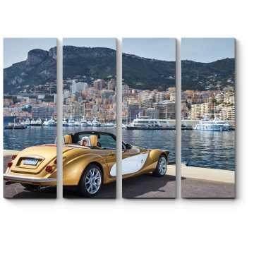 Модульная картина Золотой кабриолет на пристани