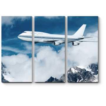 Модульная картина Пассажирский самолет в облаках