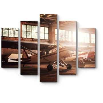 Модульная картина Самолет в гараже