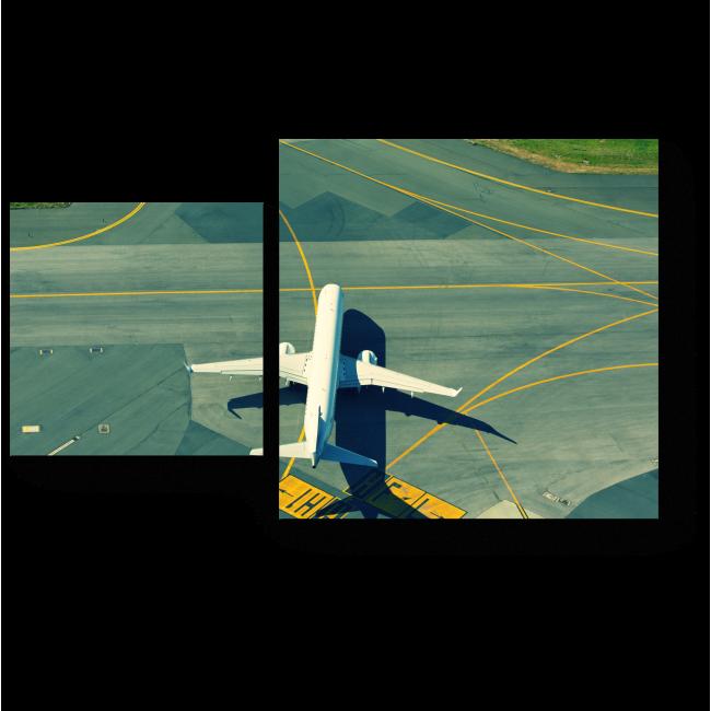 Модульная картина Самолет выруливает для взлета
