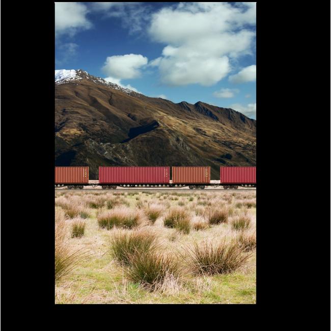 Модульная картина Поезд в горах