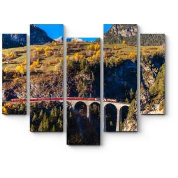 Модульная картина Поезд Железной дороги Рэетиан