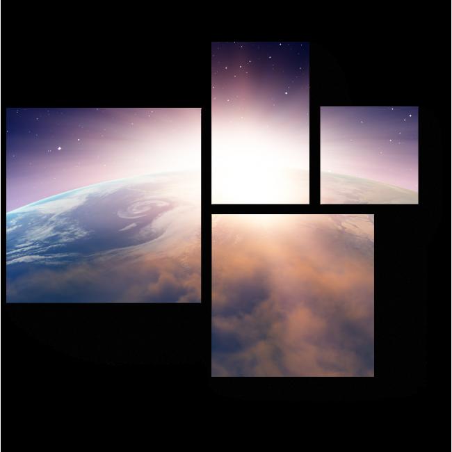 Модульная картина Захватывающий закат над Землей