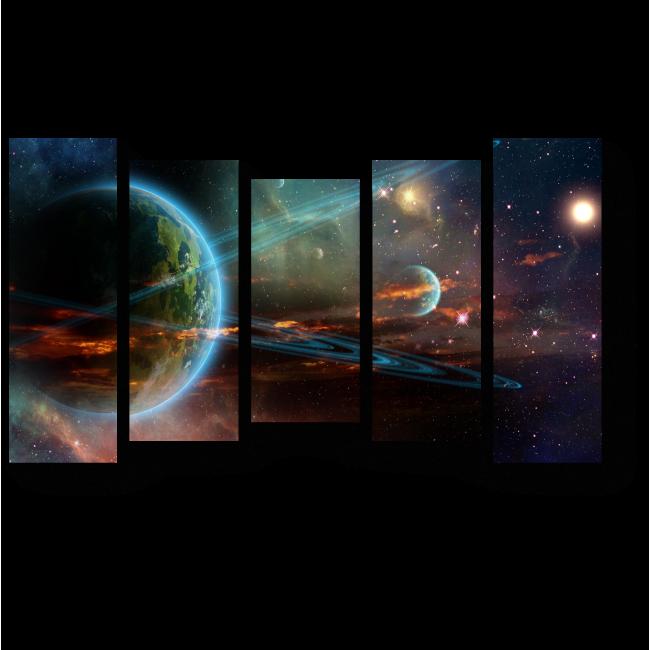 Модульная картина Неоновый космос