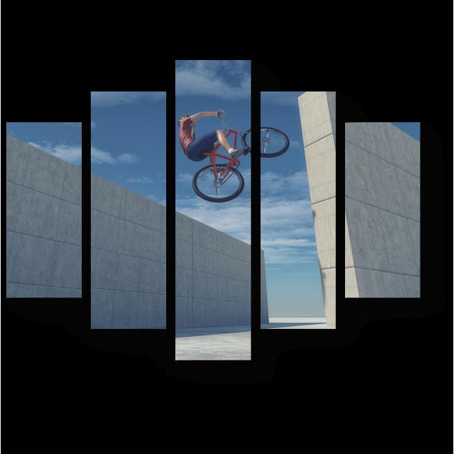 Модульная картина Велосипедный прыжок