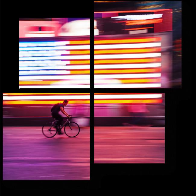 Модульная картина Велосипедист в движении