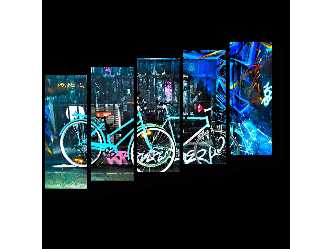Модульная картина Велосипеды и граффити (90x63) фото