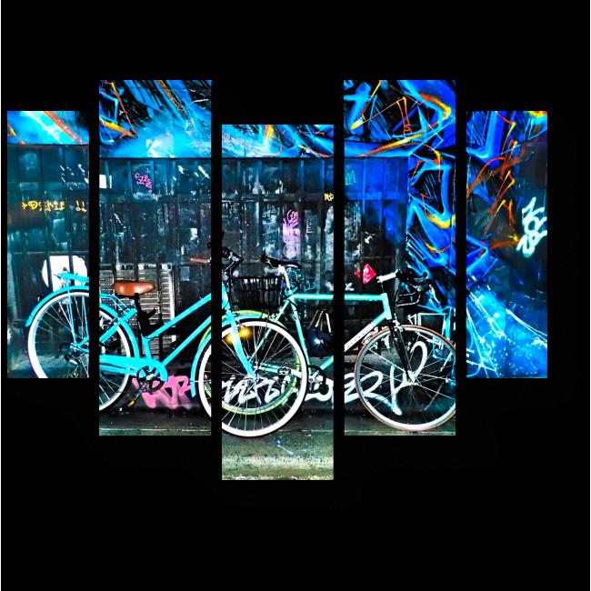 Модульная картина Велосипеды и граффити