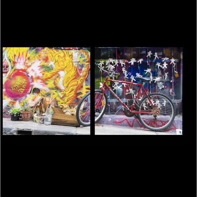 Модульная картина Велосипед, припаркованный в Hosier Lane в Мельбурне