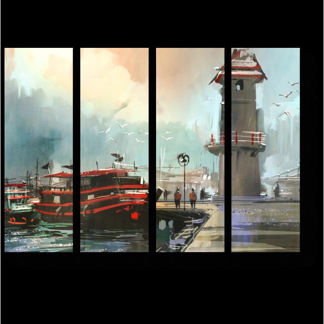Модульная картина Рыбацкая лодка в гавани