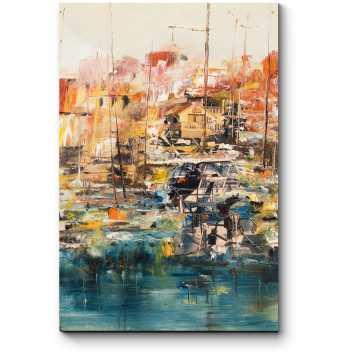 Лодки в гавани, масляная живопись