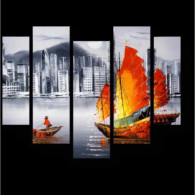 Модульная картина Гавань Виктория Гонконг