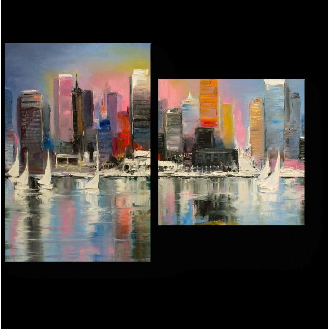Модульная картина Восход за прибрежным городом