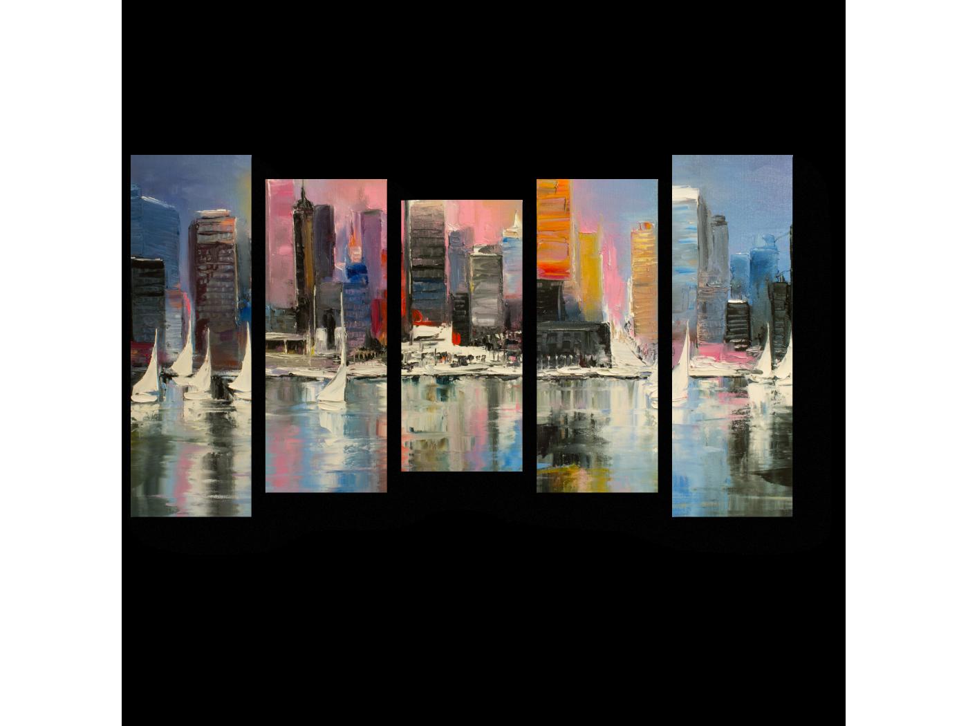 Модульная картина Восход за прибрежным городом (90x54) фото