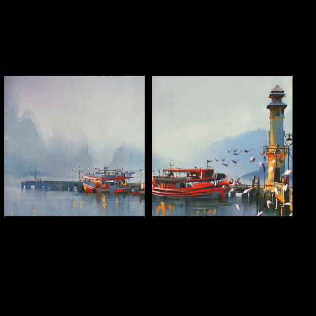 Модульная картина Рыболовное судно в гавани утром