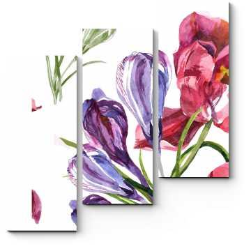 Модульная картина Розовые тюльпаны и крокусы акварелью