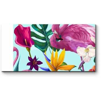 Цветочный узор с фламинго