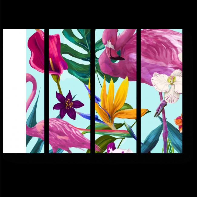 Модульная картина Цветочный узор с фламинго