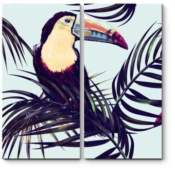 Модульная картина Экзотические птицы