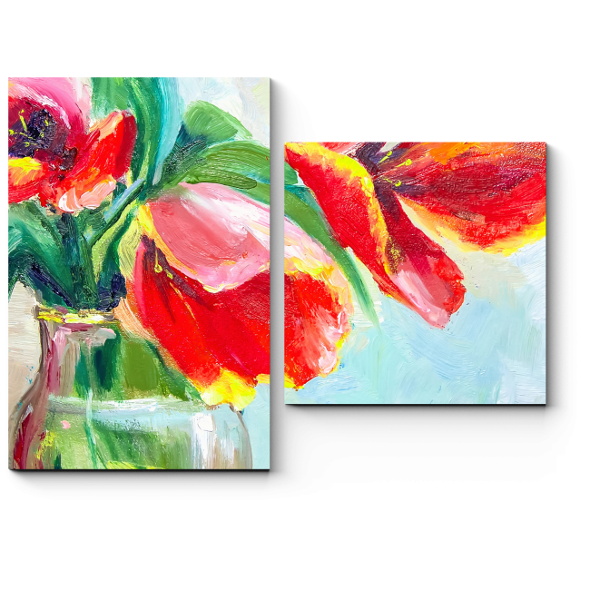 Модульная картина Живопись цветочным узором. Тюльпан