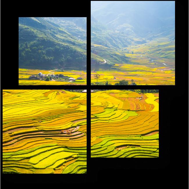 Модульная картина Рисовые поля у подножия гор