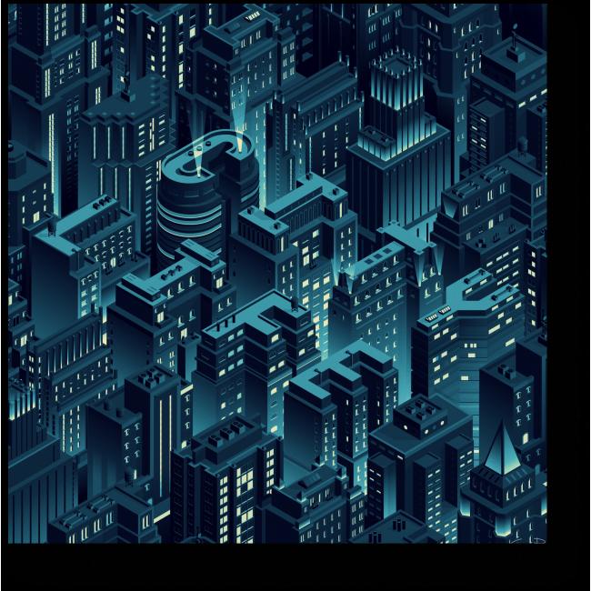 Модульная картина Жизнь города ночью