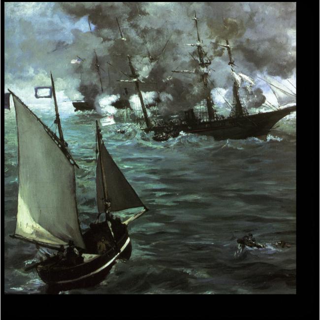 Модульная картина Сражение между кораблями «Кирсардж» и «Алабама»