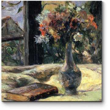 Модульная картина Ваза с цветами на окне